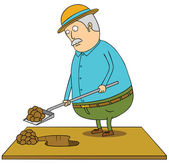 Digging old fat man — Stock Photo