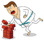 Karate - Breaking bricks — Stock Photo