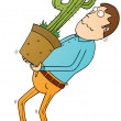 Carrying cactus — Stock Photo