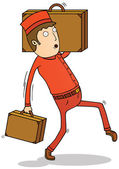Bell boy with suitcases — Stock Photo