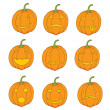 Set of pumpkin emoticons — Stock Photo