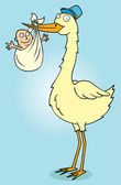 Mister stork with baby — Stock Photo