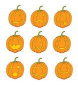 Set of pumpkin emoticons — Stock Photo