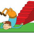 Stock Vector: Stair accident