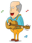 Old man with guitar — Stock Vector