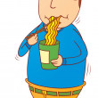 Eating instant noodle — Stock Photo #40460469
