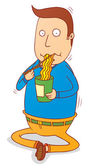 Eating instant noodle — Stock Photo