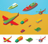 Isometric Transportation collection — Stock Vector