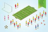 изометрии детали футболистов на стадионе — Cтоковый вектор