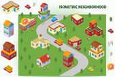 Isometric Neighborhood — Stock Vector