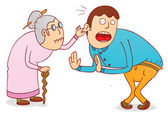 Cruel grandma — Stock Vector