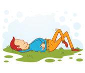 Sleeping on grass — Stock Vector