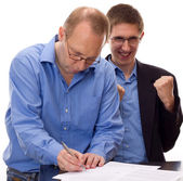 Person signing of an agreement — Stock Photo