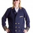 Stock Photo: Female pilot standing firm in her job