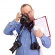 Crazy photographer with four cameras — Stock Photo