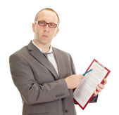 Business person with clipboard — Stock Photo