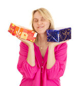 Beautiful woman with two colorful gifts — Stock Photo