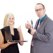 Royalty-Free Stock Photo: Two business analysing some facts