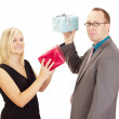 Two business throwing their gifts — Stock Photo