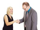 Apretón de manos después de una buena entrevista — Foto de Stock