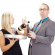 A waitress and a businessman — Stock Photo