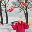 Juggling in a beautiful snowscape — Stock Photo