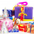 Stock Photo: Beautiful and colorful gifts on table