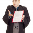 Lawyer with an agreement on his clipboard — Stock Photo