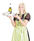 Young waitress with a tray — Stock Photo