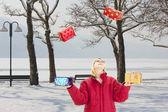 In een mooie snowscape jongleren — Stockfoto