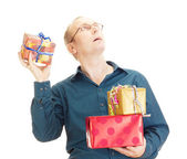 Business person throwing a gift — Stock Photo