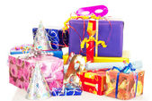 Beautiful and colorful gifts on the table — Стоковое фото