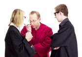 Three jurists debate about a lawsuit — Stock Photo