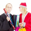 Lawyer getting gifts from santa claus — Stock Photo