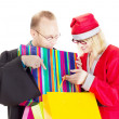 Lawyer getting gift from santa claus — Stock Photo