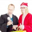 Lawyer getting toilet brush from santa claus — Stock Photo #13782537