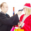 Layer hold santa claus at gunpoint — Stock Photo