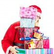 Santa claus with a lot of gifts — Stock Photo