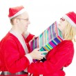 Two santas arguing — Stock Photo