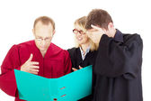 Three jurists analysing some facts — Stock Photo