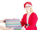 Santa claus getting gift — Stock Photo