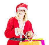 Santa claus with bags and toilet brush — Stock Photo