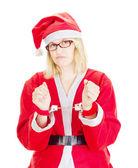 Santa claus handcuffed — Stock Photo