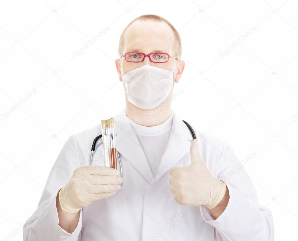 Medical doctor with test tubes — Stock Photo #13782645
