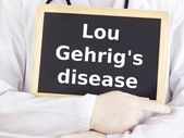 Doctor shows information: lou gehrig's disease — Stock Photo