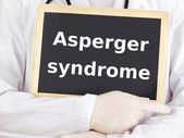Doctor shows information: asperger syndrome — Stock fotografie
