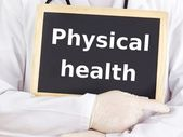 Doctor shows information on blackboard: physical health — Stock Photo
