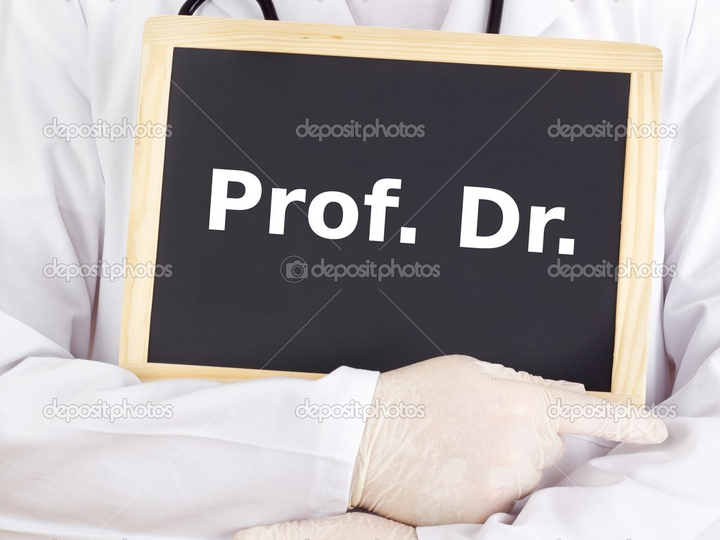 Doctor shows information on blackboard: prof dr — Stock Photo #13968833