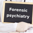 Doctor shows information: forensic psychiatry — Stock Photo
