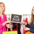 On shopping tour: on sale — Stock Photo
